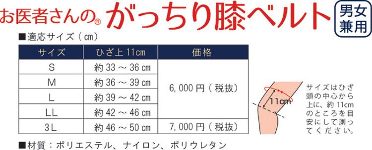 膝ベルト価格表